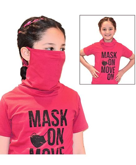 Tiara Short Sleeves Mask On Move On Print Tee With Attached Face Mask - Red