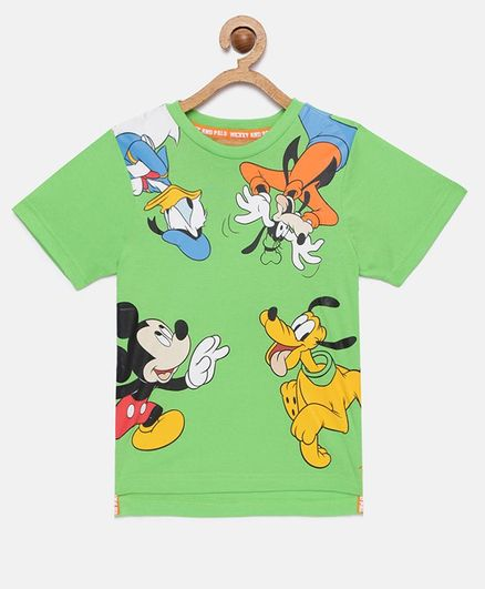 LOOCUST  Short Sleeves Disney Mickey Mouse & Friends Printed T-Shirt - Green