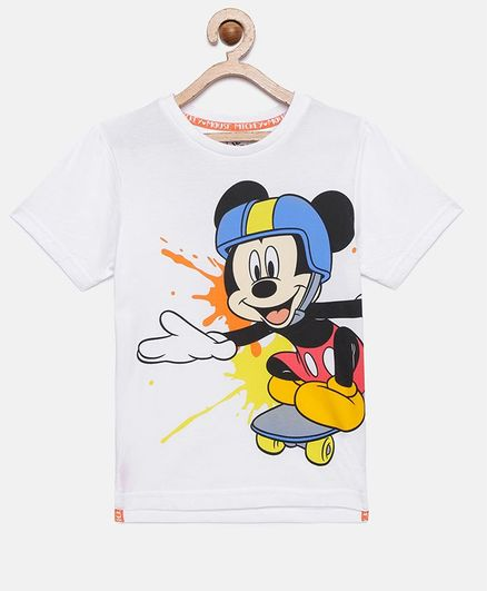 LOOCUST Mickey Mouse Printed Half Sleeve T-Shirt - White