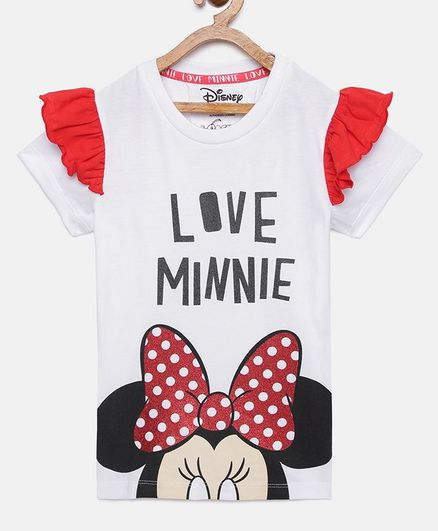 LOOCUST Minnie Mouse Printed Half Sleeves T-Shirt - White