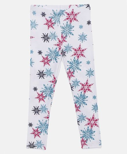 LOOCUST Full Length Disney Frozen Printed Leggings - White