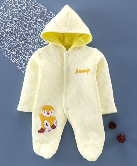 Tappintoes Full Sleeve Footed Romper Animal Patch - Yellow