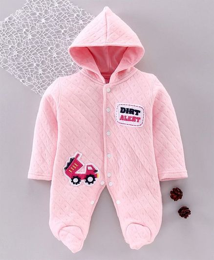 Tappintoes Full Sleeve Footed Romper Vehicle Patch - Pink