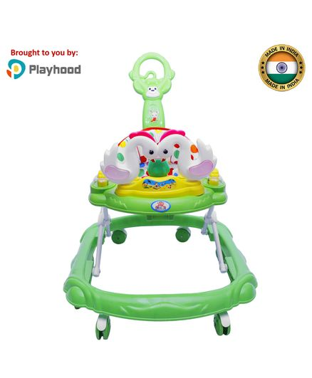 Playhood Musical Baby Walker with Parent Push Handle - Drak Green
