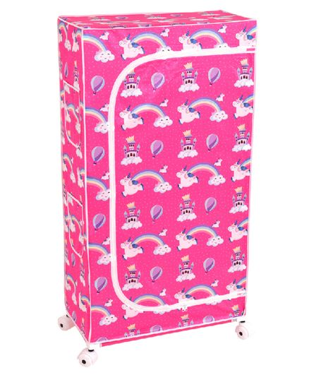 Playhood Unicorn Print 5 Shelve Wardrobe - Pink