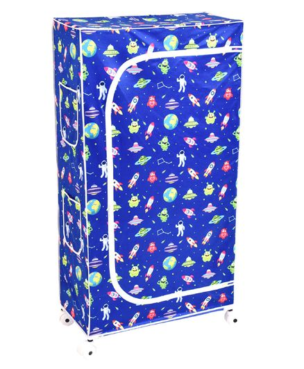 Playhood Space Print 5 Shelve Wardrobe - Blue