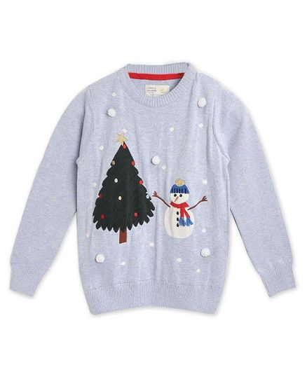 Cherry Crumble By Nitt Hyman Full Sleeves Snow Man Design Sweater - Light Blue