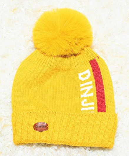 Tipy Tipy Tap Pom Pom Design Text Printed Cap - Yellow