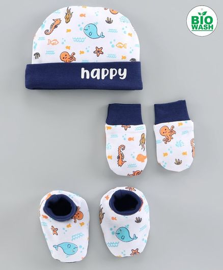 Babyoye Cap & Mittens With Booties Fish Print Blue White - Diameter 10 cm