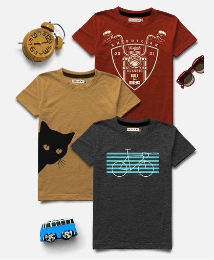 Hellcat Half Sleeves Cat Printed Pack Of 3 Tee - Multi Color