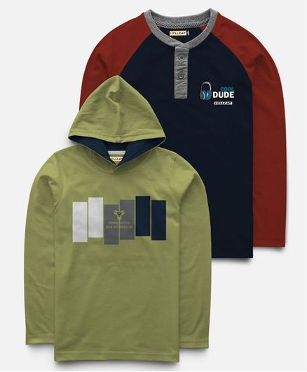 Hellcat Pack Of 2 Full Sleeves Hoodie & T-Shirt  - Green & Blue