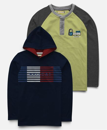 Hellcat Pack Of 2 Full Sleeves Print T-Shirt & Hoodie - Navy Blue & Green
