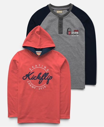 Hellcat Pack Of 2 Full Sleeves Kickflip Print T-Shirt With Hoodie  - Grey & Red