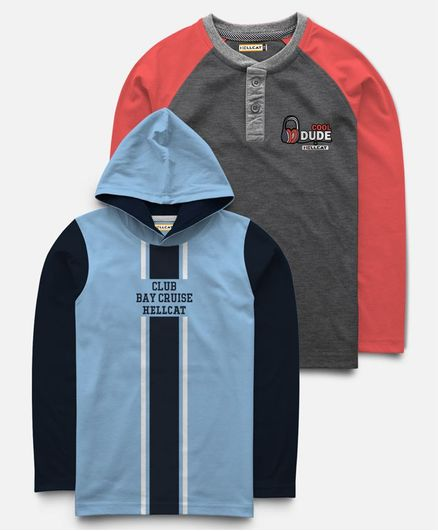 Hellcat Pack Of 2 Full Sleeves Club Bay Cruise Print Hoodie With T-Shirt  - Grey & Blue