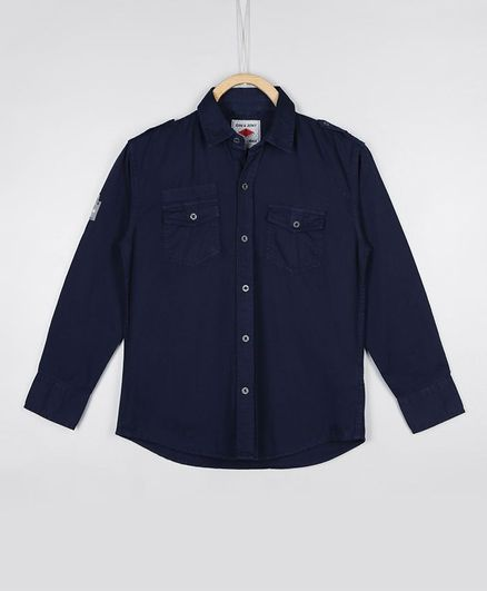 GINI & JONY Full Sleeves Solid Color Shirt - Dark Blue