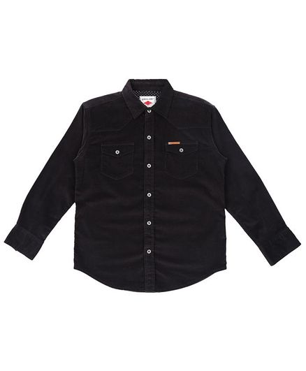 GINI & JONY Full Sleeves Denim Solid Shirt - Black