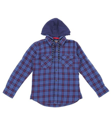 GINI & JONY Full Sleeves Checkered Hooded Shirt - Blue