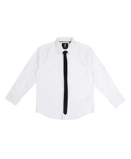 GINI & JONY Full Sleeves Solid Colour Shirt With Tie - White