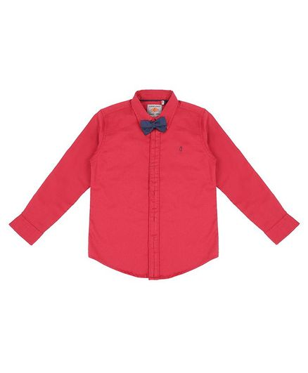 GINI & JONY Full Sleeves Solid Shirt With Attached Bow Tie - Red