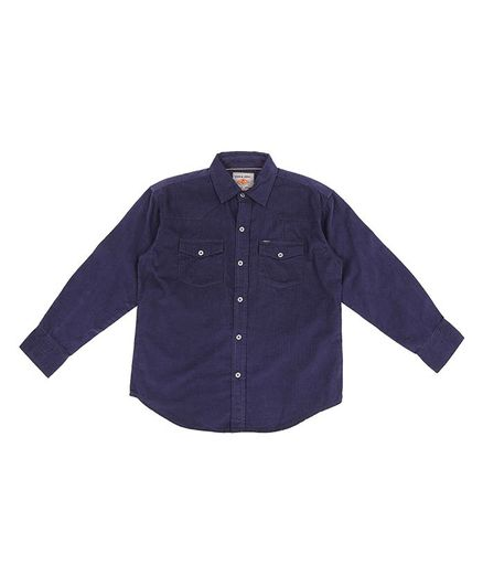 GINI & JONY Solid Full Sleeves Shirt - Dark Blue