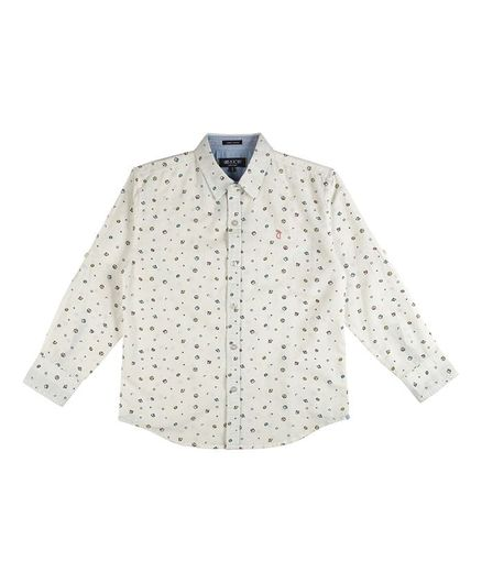 GINI & JONY Full Sleeves All Over Printed Shirt - White