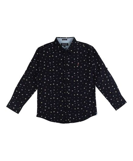 GINI & JONY Full Sleeves All Over Printed Shirt - Black