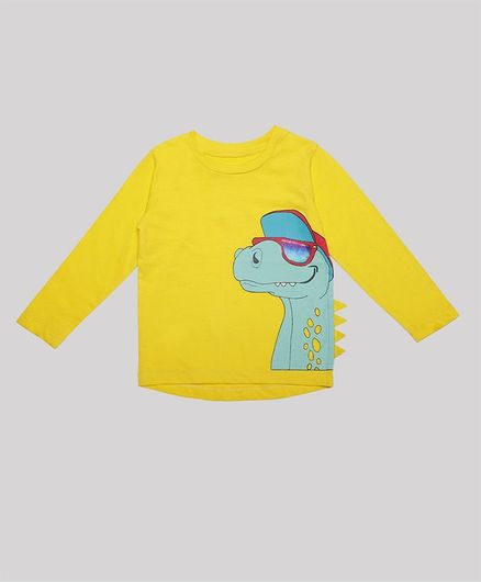 Nino Bambino 100% Organic Cotton Full Sleeves Dinosaur Print T-Shirt - Yellow