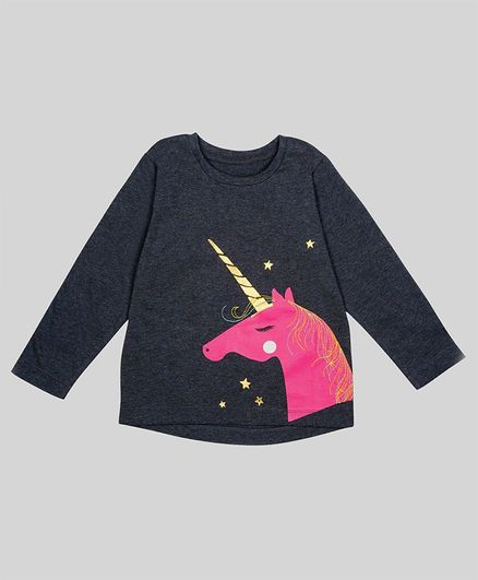 Nino Bambino 100% Organic Cotton Full Sleeves Unicorn Print T-Shirt - Bluish Grey