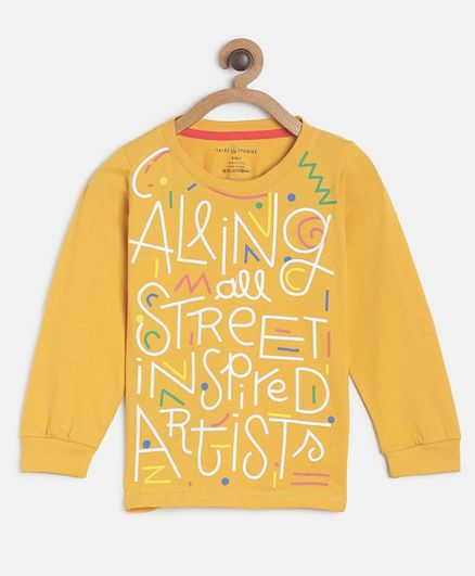 Tales & Stories Full Sleeves Calling All Street Inspired Artist Printed T-Shirt - Yellow