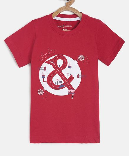 Tales & Stories Half Sleeves Printed T-Shirt - Red