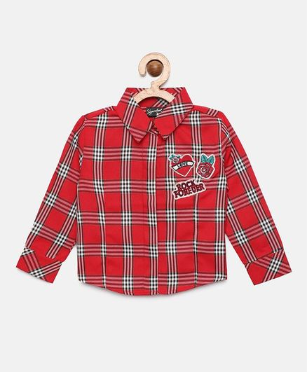 Actuel Full Sleeves Checked Shirt Style Top - Red