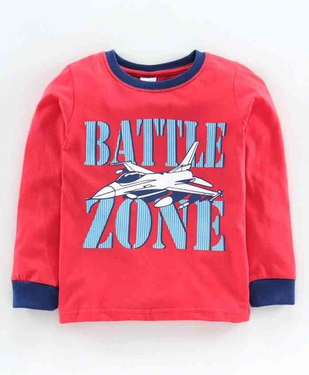 Taeko Full Sleeves T-Shirt Battle Zone Print - Red
