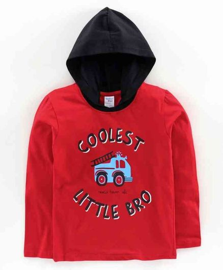 Taeko Full Sleeves Hooded T-Shirt  Text Print - Red