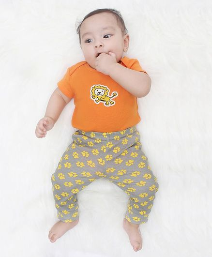 Kaarpas Short Sleeves Organic Cotton Pack Of 2 Lion Print Onesie & Pant Set - Orange & Grey