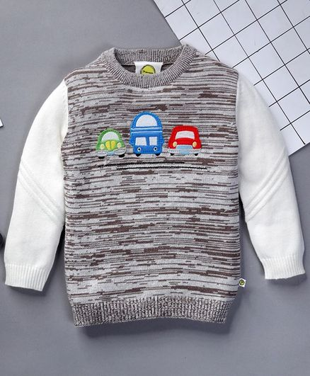 Pranava Full Sleeves Vehicle Design Sweater - Grey