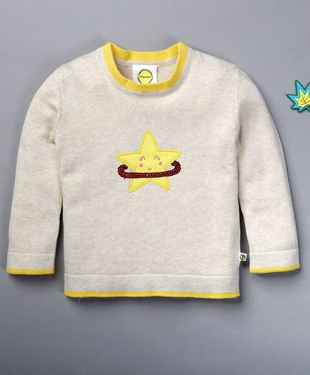 Pranava Full Sleeves Star Patch Sweater - Off White