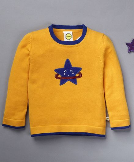 Pranava Full Sleeves Star Patch Sweater - Yellow