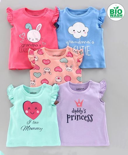 Babyoye Short Sleeves Tees Multi Print Pack of 5 - Pink Blue Purple
