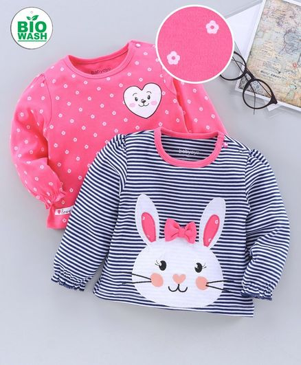 Babyoye Full Sleeves Cotton Tee Striped & Printed Pack of 2 - Pink Blue