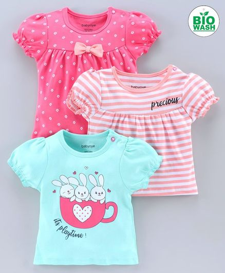 Babyoye Puff Sleeves Cotton Tee Pack of 3 - Pink Sea Green