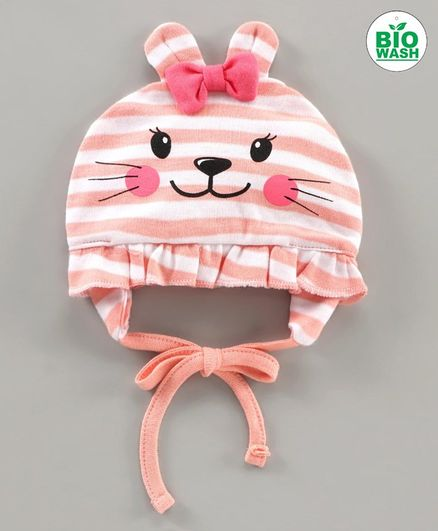 Babyoye Cap With Knot Striped Print Pink - Diameter 11 cm