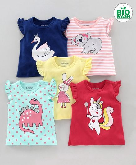 Babyoye Short Sleeves T-Shirt Pack of 5 - Multicolor