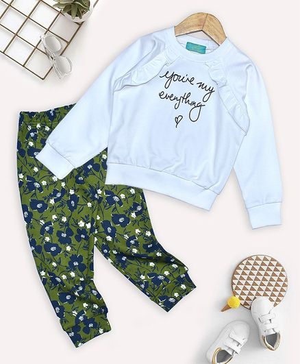 Tiara Full Sleeves Text Print Sweatshirt With Floral Print Joggers - Blue & Green