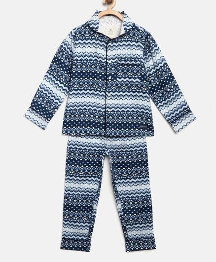 Cherry Crumble by Nitt Hyman Full Sleeves Tribal Print Night Suit - Blue