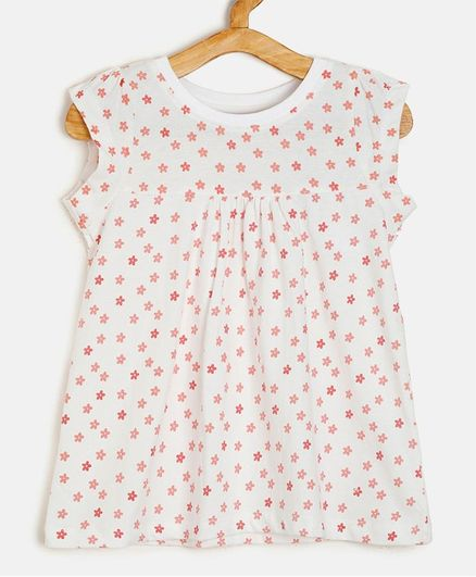 Aomi Sleeveless Flower Print Top - White