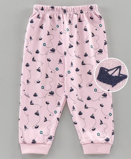 Ollypop Full Length Lounge Pants Boat Print - Pink