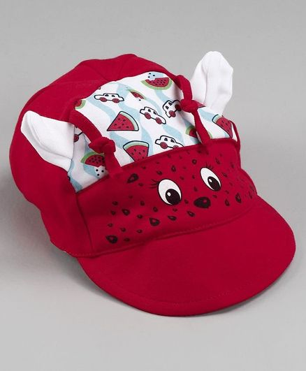 Cucumber Baby Summer Cap With 3D Ears Red - Diameter 11.5 cm
