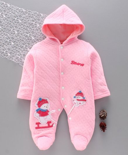 Tappintoes Full Sleeves Winter Wear Hooded Footed Romper Snow Man Patch - Pink