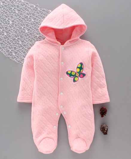Tappintoes Full Sleeves Winter Wear Hooded Footed Romper Butterfly Patch - Pink