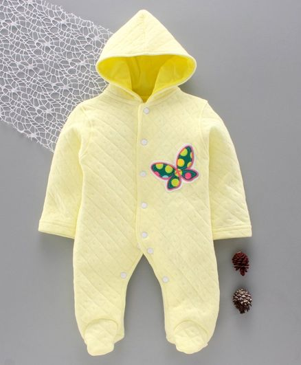 Tappintoes Full Sleeves Winter Wear Hooded Footed Romper Butterfly Patch - Yellow